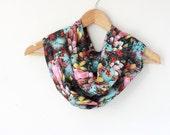 Art print Infinity scarf - Aqua scarf - Tulip floral art print - multicolor scarf - unique loop scarf
