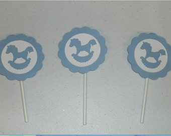 12 Baby boy cupcake toppers (210C)