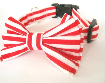 Bow Tie Collar . Adjustable Dog Collar. Small Medium Large Red Stripes Bowtie