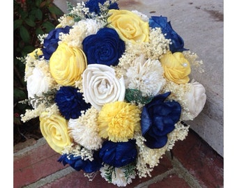 Blue and Yellow Sola Flower Bouquet, Alternative Wedding Bouquet, Blue Sola Bouquet, Wedding Bouquet, Rustic and Elegant