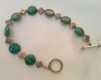 Green River Stone and Silver Flower Bracelet 124