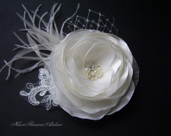 Ivory Bridal Hair Flower Ivory Hair Piece Bridal Headpiece Ivory Hair Clip Ivory Fascinator French Veil Lace Ivory Wedding Hair Accessory