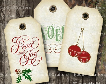 ON SALE INSTANT Download -  12 Christmas Gift Tags - Vintage Holiday - 1.5 x 2 7/8 - Printable Digital Collage Sheet -  Diy Hang Tags Holly