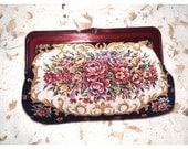 Vintage Floral Bouquet Needlepoint Clutch Wallet