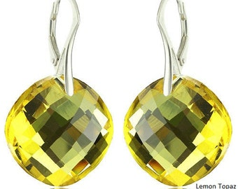 925 Sterling Silver Faceted Modified Round Swarovski Crystal Leverback Earrings
