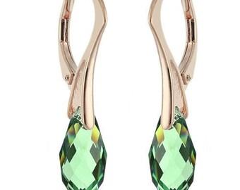 14k Rose Gold Over 925 Sterling Silver Briolette Swarovski Leverback Earrings
