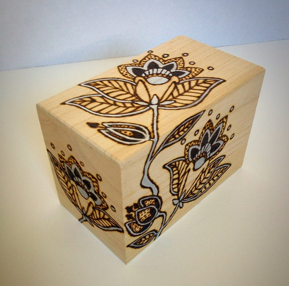 Items Similar To Decorative Wooden Recipe Box With Painted