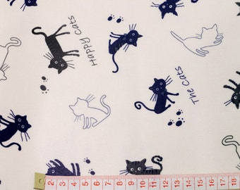 Laminated Cotton Fabric Lovely Cats in 2 Colors By The Yard