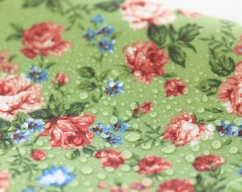 Waterproof Cotton Blend Fabric Flower Green By The Yard