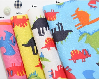 Waterproof Cotton Blend Fabric Dinosaur in 4 Colors By The Yard