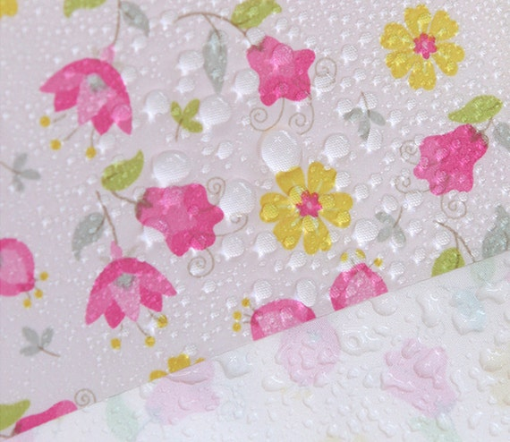 waterproof fabric pink flower on white by the yard by bonitafabric. Black Bedroom Furniture Sets. Home Design Ideas