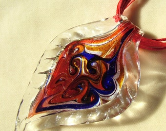 Leaf Lampwork Glass Murano pendant handcrafted and polished in focus