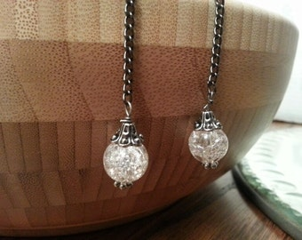 Earrings - Cracked Glass and Gunmetal Chain Drops