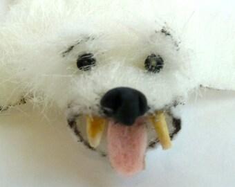 bear skin rug with claws, tongue, and long polar bear fur dollhouse miniature 1/12 scale