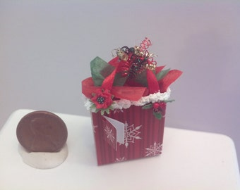 Ooak 1:12 scale 1.5 inch high miniature  dollhouse Christmas gift bag present by Mable Malley