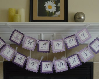 Purple Ballerina Theme Happy Birthday Banner - Party Packs Available