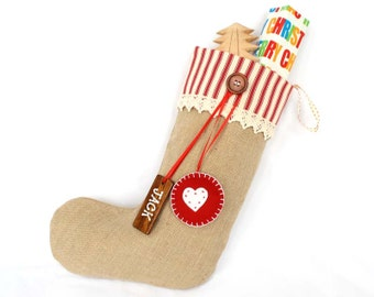Personalized Shabby Chic Christmas Stocking in Red Ticking with pure wool felt heart decoration and wooden name tag