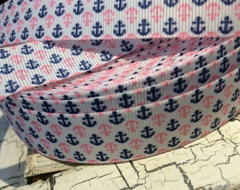"""3 yards 7/8"""" Pink and Navy NAUTICAL Anchor Grosgrain Ribbon sold by the yard"""