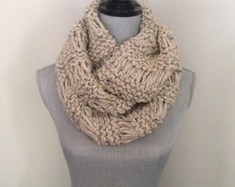 Infinity scarf, Knit scarf, Chunky knit infinity scarf In Oatmeal