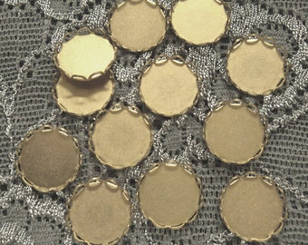 11mm round brass closed back lace edge cup settings 12 pcs lot l