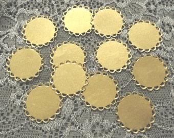 18mm Round flat brass lace edge settings bases 12 pieces lot l