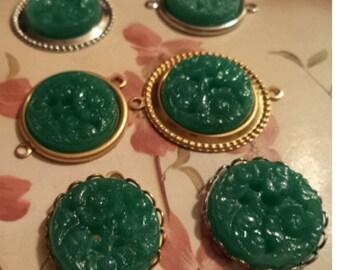 18mm round vintage postwar Japan jade green color etched flower glass stone 6 pieces lot l end of stock