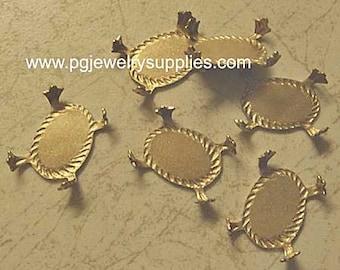 18mm x 13mm oval brass dapt fleur des lis turtle prong settings  6 pcs