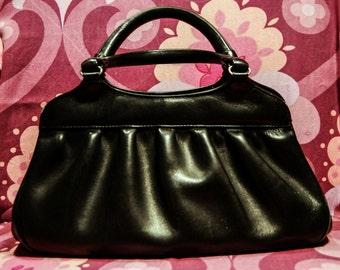 vintage 50s black leather handbag