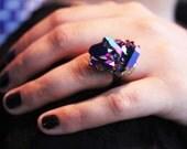 Raw Crystal Mystic Midnight Quartz Ring