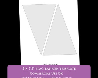 "flag banner party bunting digital template 8.5 x 11"" 5 x 7.5"" flag party printable template psd png Commercial Use Personal pennant banner"