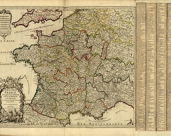 France map print map vintage old maps Antique prints poster map wall home decor wall map large map france print old map france decor 24 x 36