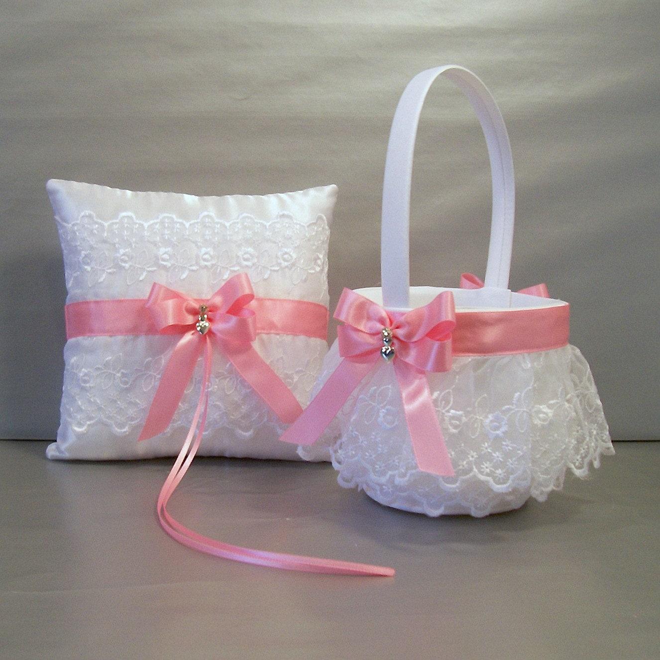 Remarkable Wedding Flower Basket and Ring Pillow Set Photos Design ...