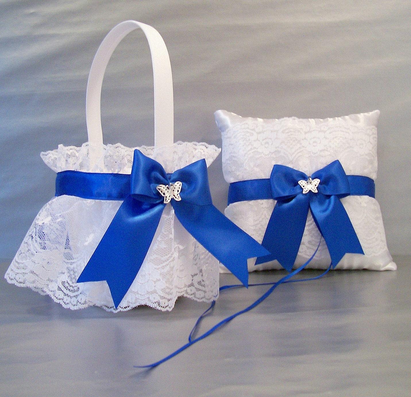 Flower Girl Baskets For Weddings: Royal Blue Wedding Bridal Flower Girl Basket And By