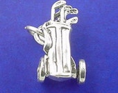 GOLF CART Charm, Golf BAG With Clubs, Golfer .925 Sterling Silver Charm Pendant