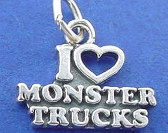 I LOVE Monster TRUCKS Charm .925 Sterling Silver Pendant - t01186