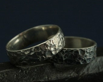 Moon Ring - Hammered Textured Bands - Wide Sterling Silver Men's Wedding Band - Love You to the Moon and Back - 925 Silver Textured Band