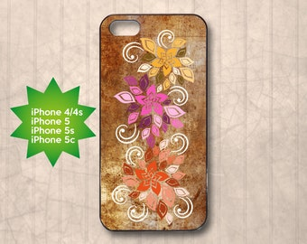 Colourful flowers and swirls on brown wood texture background, iPhone 4/4s, 5, 5s, 5c case cover, birthday, Christmas gift idea 5P0056