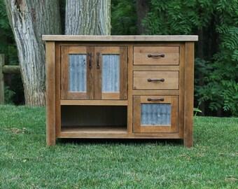 "Rustic Vanity (42"") - Reclaimed Barn Wood Vanity w/Barn Tin #6166"