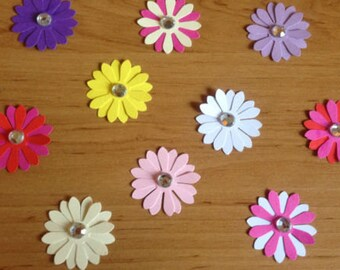 10 Pretty Flower Layered toppers with gems for cardmaking scrapbooking