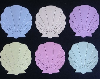 50 pastel summer Sea Shell die cuts for Vacation scrapbooks cardmaking craft projects