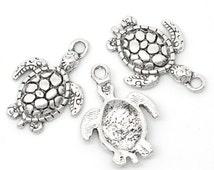 10 Silver Sea Turtle Charms Sea Creature Tortoise Pendants 4314