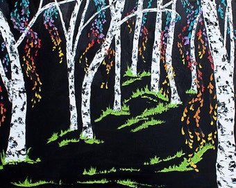 "18"" x 36"" (45cm x 90cm) Modern Birch Painting ""Happy Birch Forest"" Oil on Canvas Original Fine Art Palette Knife Painting"