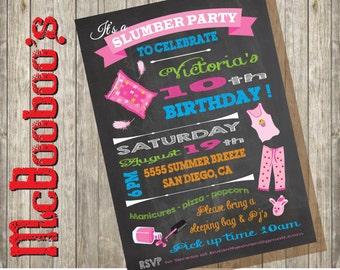 Chalkboard Slumber Party Sleep over Birthday Party Invitation