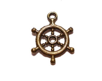 10 Captains Wheel Charms, Ship Wheel Charms, Boat Wheel Charm, Captain Wheel Charms, Boating Charms, Wheel Charms, Nautical Charms, BC0009