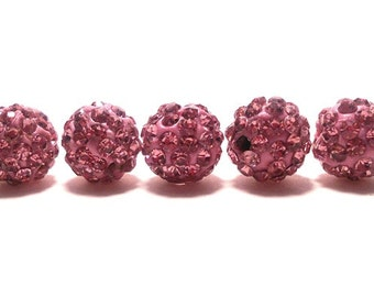 5 LIght Rose Pave Beads, 10mm Light Rose Pink Pave, Polymer Clay Pave Bead, 10mm Pink Beads, Pink Shamballa Beads, Disco Ball Bead, T-102C