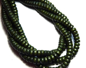 Forest Green Wood Beads, Green Pucalet Wood Beads, Dark Green Beads, Green Rondelle Wood Beads, Wooden Beads, Wood Beads for Jewelry D-S02G