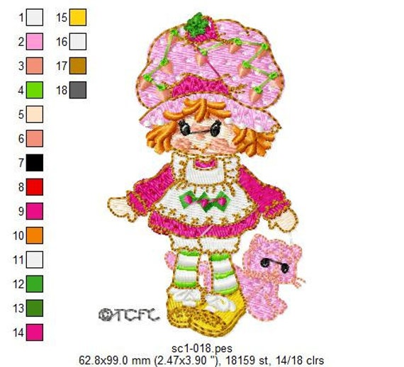 Strawberry Shortcake Machine Embroidery Designs - INSTANT DOWNLOAD - PES Format.