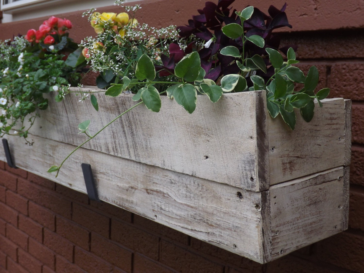 Wood planter box window outdoor flower