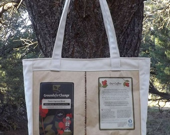 Coffee Bags and Canvas Bag Purse Recycled Upcycled Repurposed