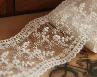 ivory Lace Trim,off  White, 2.3inch wide, For Scrapbook, Home Decor, Apparel, Accessories, Victorian & Romantic Crafts,sunflower lace ribbon